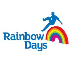rainbow days logo- blue man jumping over a rainbow