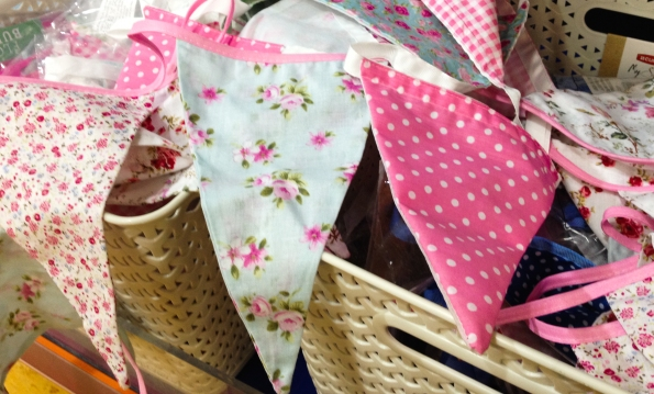 pink and blue flowery bunting